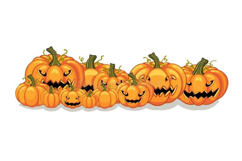 Halloween Vector Orange Pumpkins Banner vector illustration