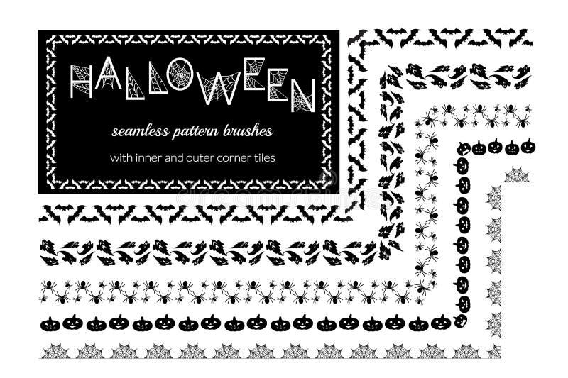 Halloween vector pattern brushes stock illustration
