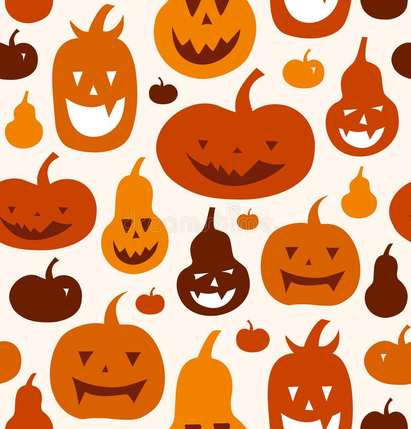 Halloween vector seamless pattern. Decorative background with funny drawing pumpkins. Cute silhouettes. vector illustration