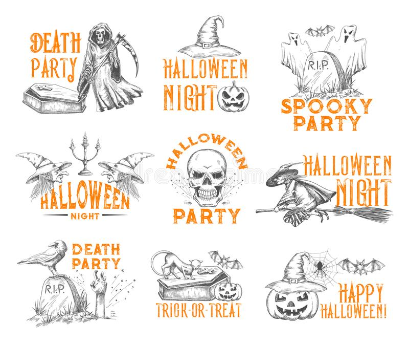 Halloween vector sketch icons for holiday party vector illustration