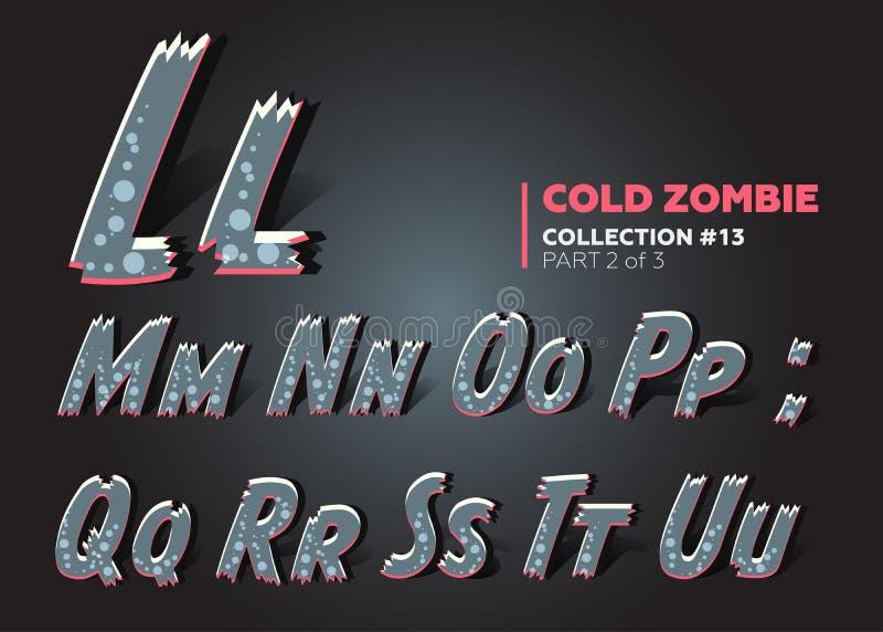 Halloween Vector Zombie Font. Raggy Alphabet in Horror Style. vector illustration