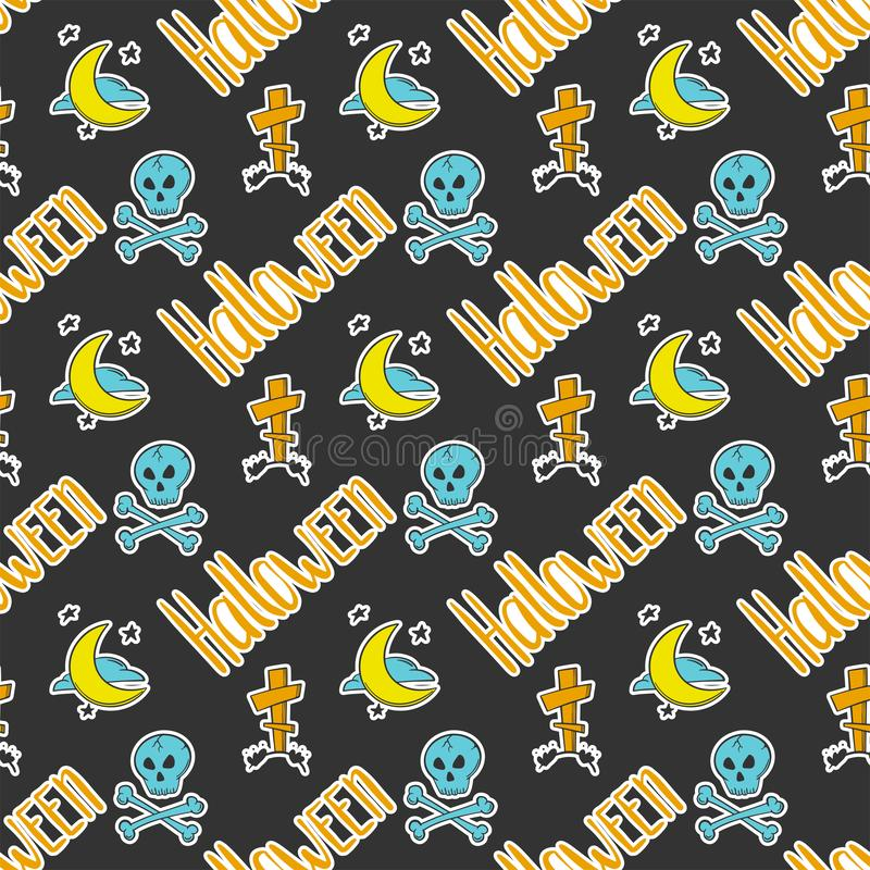 halloween Vektorbegrepp i klotter och att skissa stil Utdragen illustration för hand för utskrift på T-tröja, vykort stock illustrationer