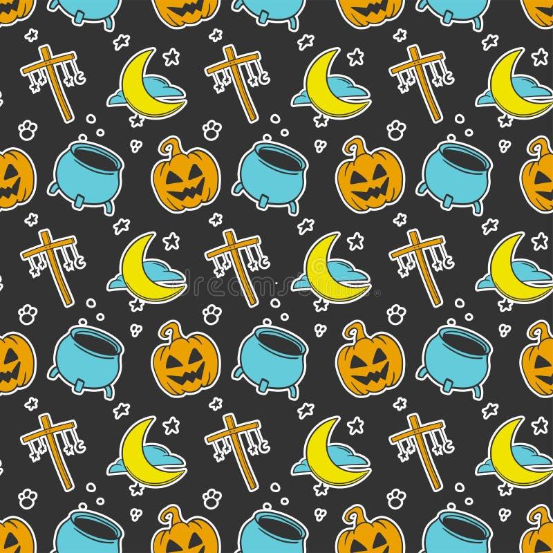 halloween Vektorbegrepp i klotter och att skissa stil Utdragen illustration för hand för utskrift på T-tröja, vykort vektor illustrationer