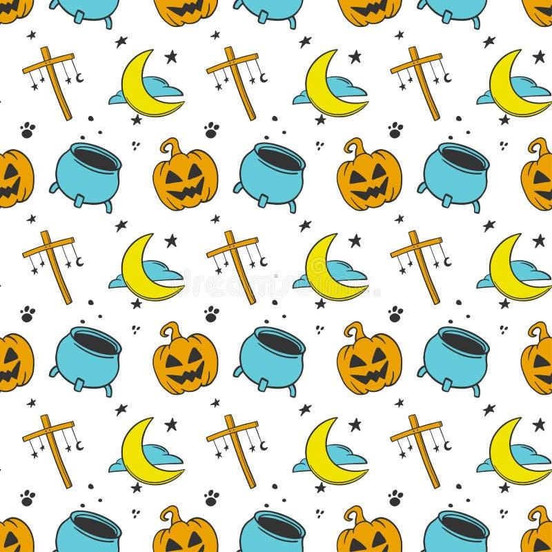 halloween Vektorbegrepp i klotter och att skissa stil Utdragen illustration för hand för utskrift på T-tröja, vykort royaltyfri illustrationer