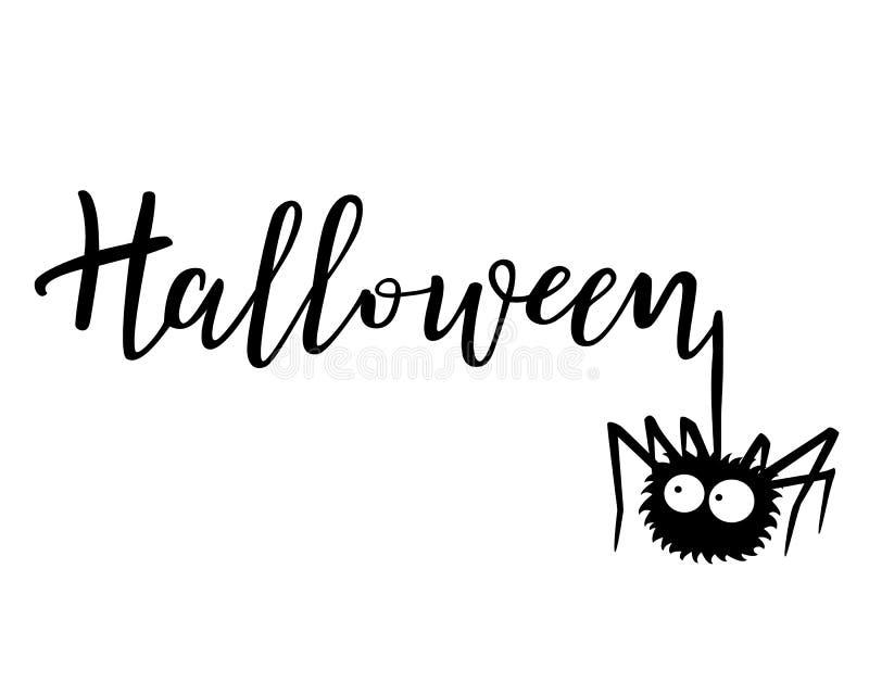 Halloween-Vektorbeschriftung Feiertagskalligraphie mit einer Spinne lizenzfreie abbildung