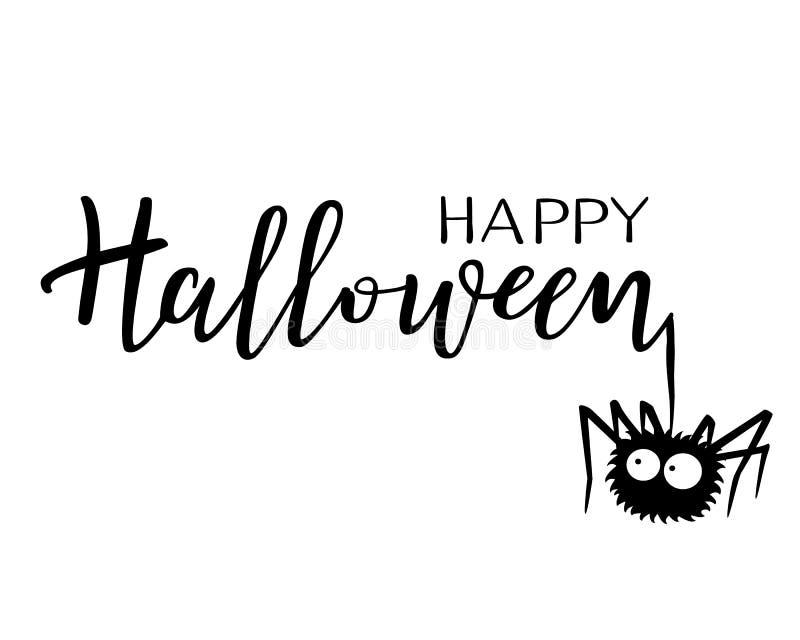 Halloween-Vektorbeschriftung Feiertagskalligraphie mit einer Spinne vektor abbildung