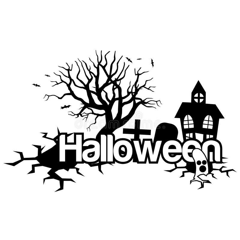 Halloween-Vektorillustration mit Haus, Bäumen und Grab stock abbildung