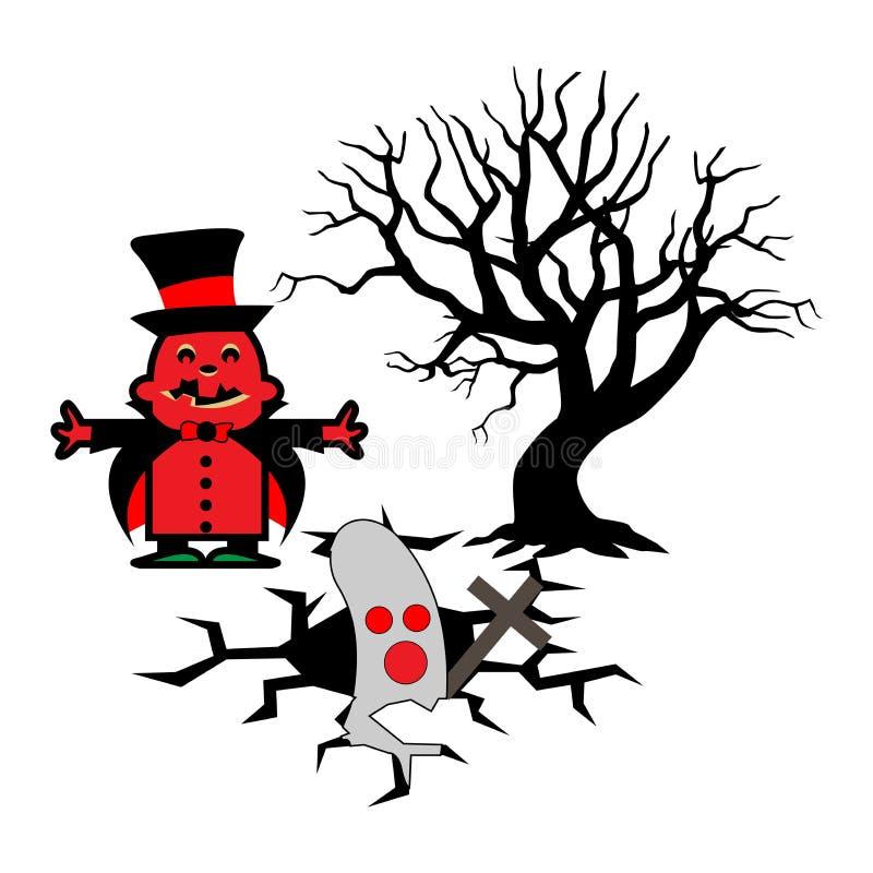 Halloween-Vektorillustration mit Hexe laden Geister ein lizenzfreie abbildung