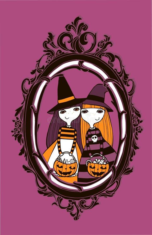 Halloween-Vektorillustration mit Hexen lizenzfreie abbildung