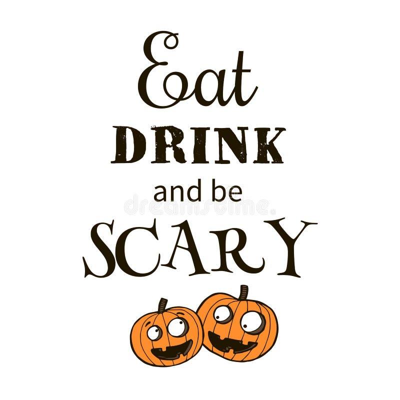 Halloween-Vektorillustration mit Kürbisen stock abbildung