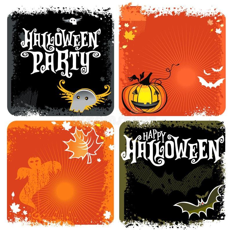 Halloween-Vektorsatz Hintergründe mit Beschriftung stock abbildung