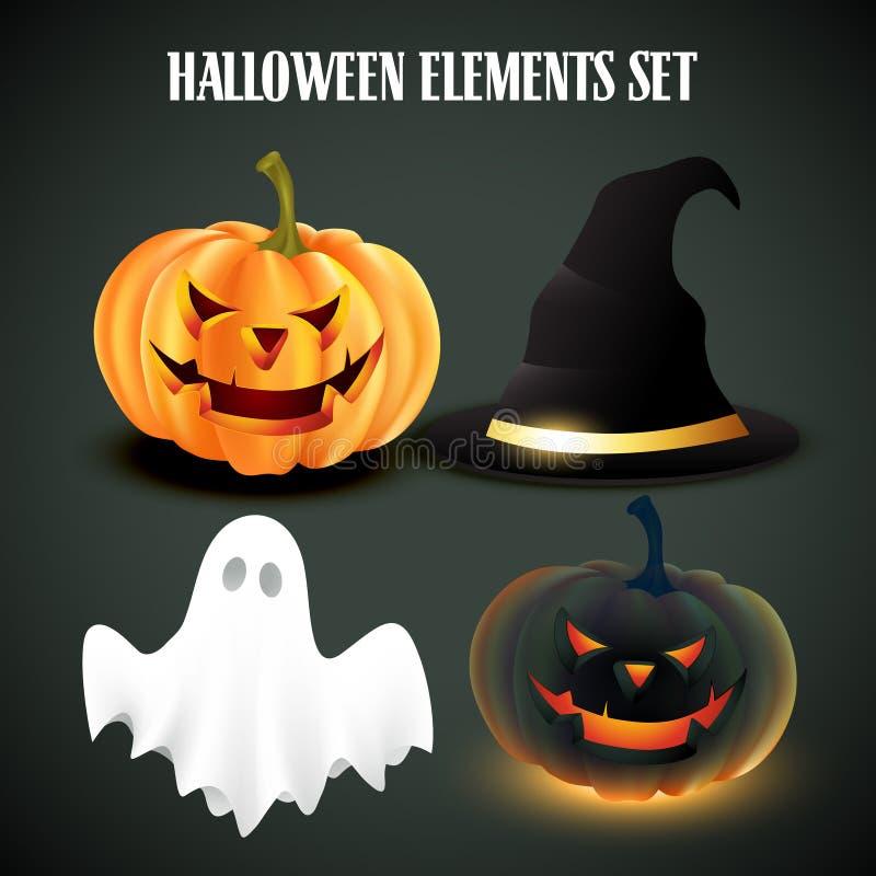 Halloween vektorset stock illustrationer