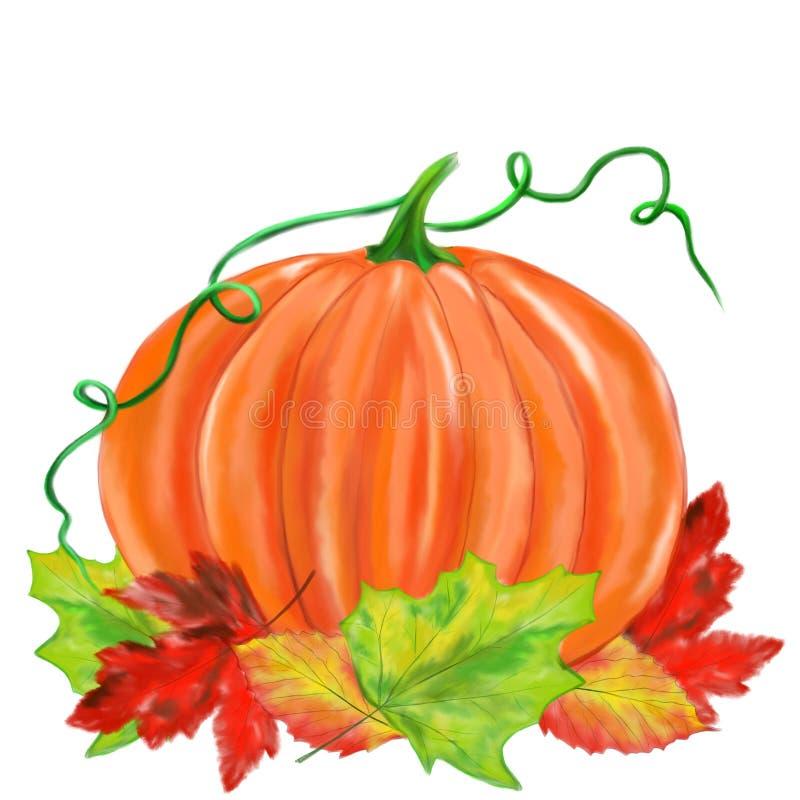 Halloween veranschaulichte Kürbis mit Blättern stock abbildung