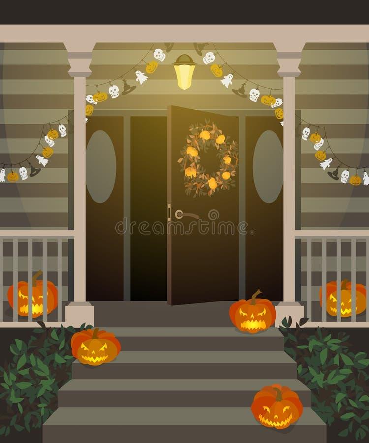 Halloween verfraaide voordeur vector illustratie afbeelding 60359764 - Decoratie gang ingang ...