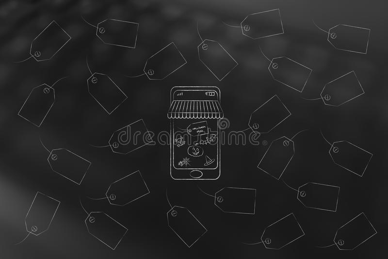 Halloween-Verkäufe Smartphone mit Förderungen und gespenstischem Ikonen surr vektor abbildung