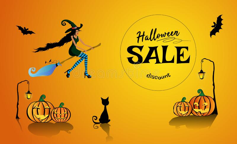 Halloween-Verkauf auf Rabatten mit einem schönen schwarzen Hexenfliegen auf einem Besenstiel Vektorabbildung EPS10 lizenzfreie abbildung