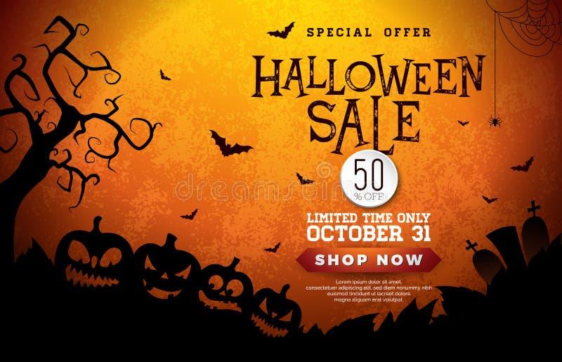 Halloween-Verkaufsfahnenillustration mit Kürbisen, Kirchhof und Fliegen schlägt auf orange Hintergrund Vektorfeiertagsdesign lizenzfreie abbildung