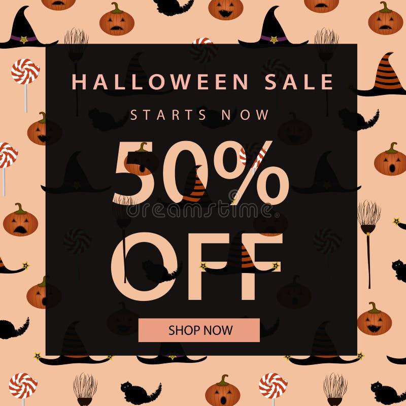 Halloween-Verkaufsfahnenschablone Zeichen werden über dem Hintergrund getrennt Auch im corel abgehobenen Betrag stockfoto