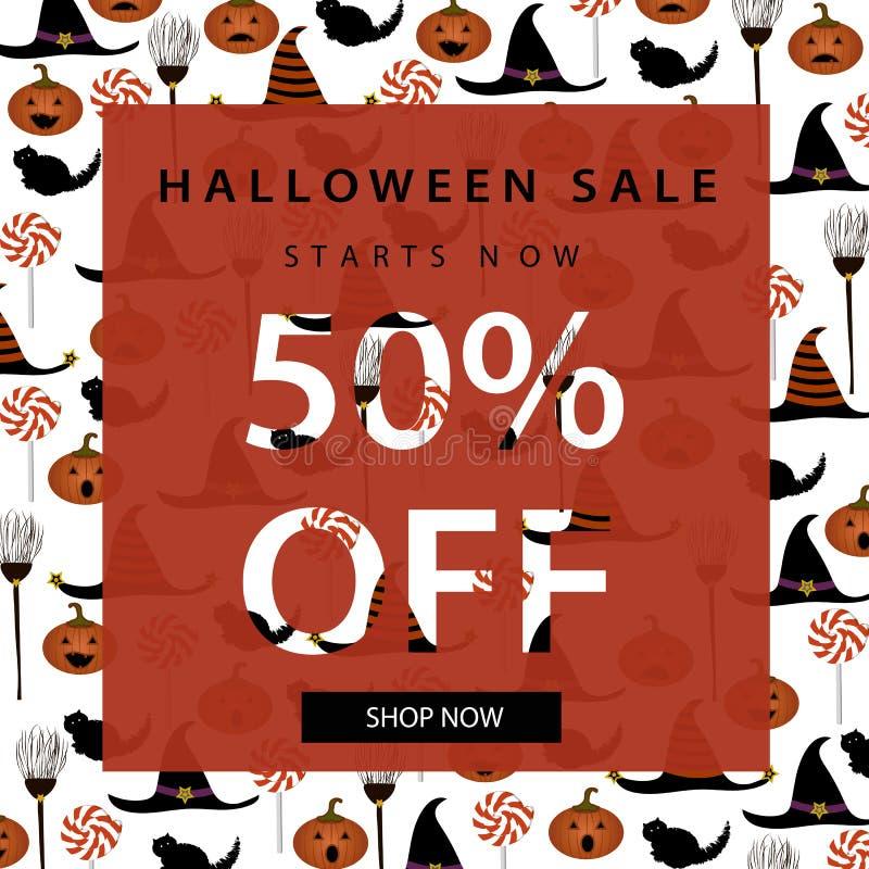 Halloween-Verkaufsfahnenschablone Zeichen werden über dem Hintergrund getrennt Auch im corel abgehobenen Betrag stockbild