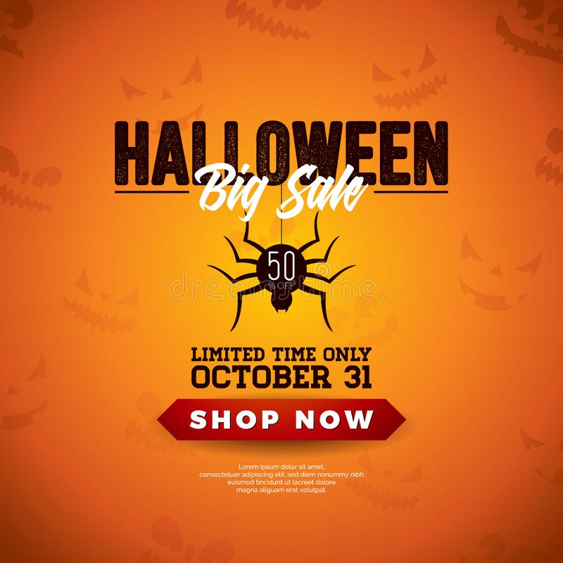 Halloween-Verkaufsvektorillustration mit Spinne und Beschriftung auf orange furchtsamem Gesichtshintergrund Design für Angebot, K lizenzfreie abbildung