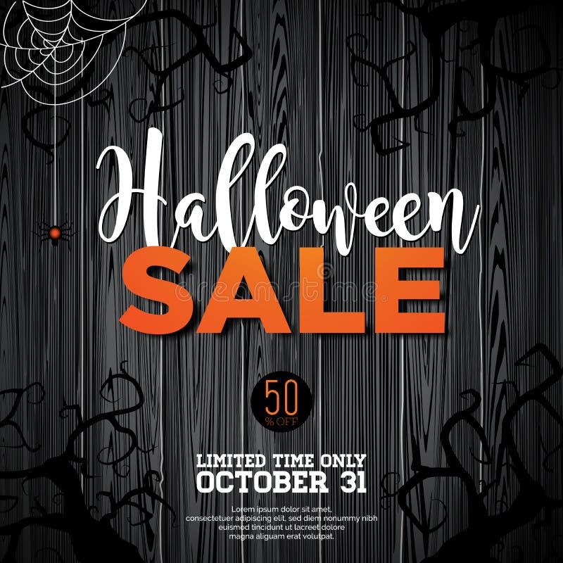Halloween-Verkaufsvektorillustration mit Spinne und Feiertagselemente auf hölzernem Beschaffenheitshintergrund Design für Angebot lizenzfreie abbildung