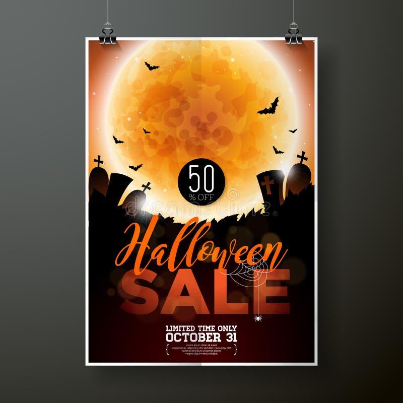 Halloween-Verkaufsvektorplakat-Schablonenillustration mit Mond und Schläger auf orange Himmelhintergrund Design für Angebot, Kupo stock abbildung
