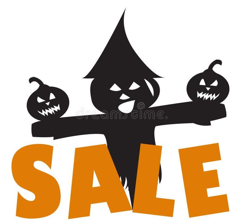 Halloween-verkoop met vogelverschrikker en pompoenen stock illustratie
