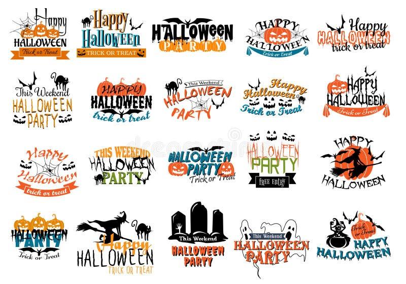 Halloween-verschrikking en angstaanjagende banners royalty-vrije illustratie