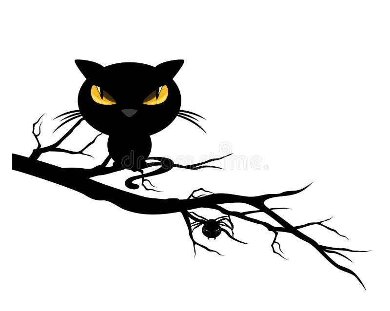 Halloween-vertakken de de thema griezelige zwarte kat zich en spin op een boom - m royalty-vrije illustratie
