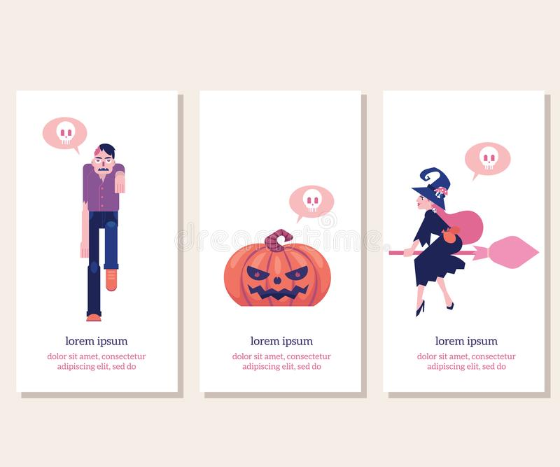 Halloween vertical banners set with traditional symbols of holiday in flat vector illustration. stock illustration
