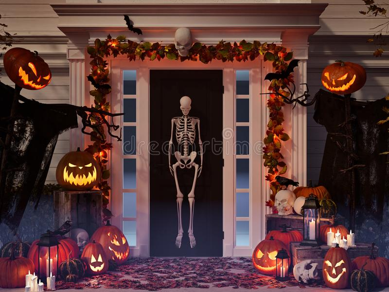 Halloween verzierte Haus mit Kürbisen und den Schädeln Wiedergabe 3d stockfotos