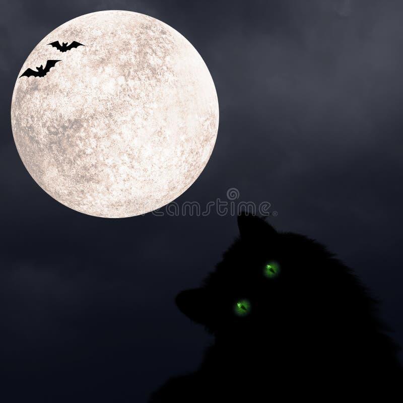 Halloween vierkante achtergrond met zwarte kat met groene ogen, silhouettes met vleermuizen en volle maan royalty-vrije stock foto