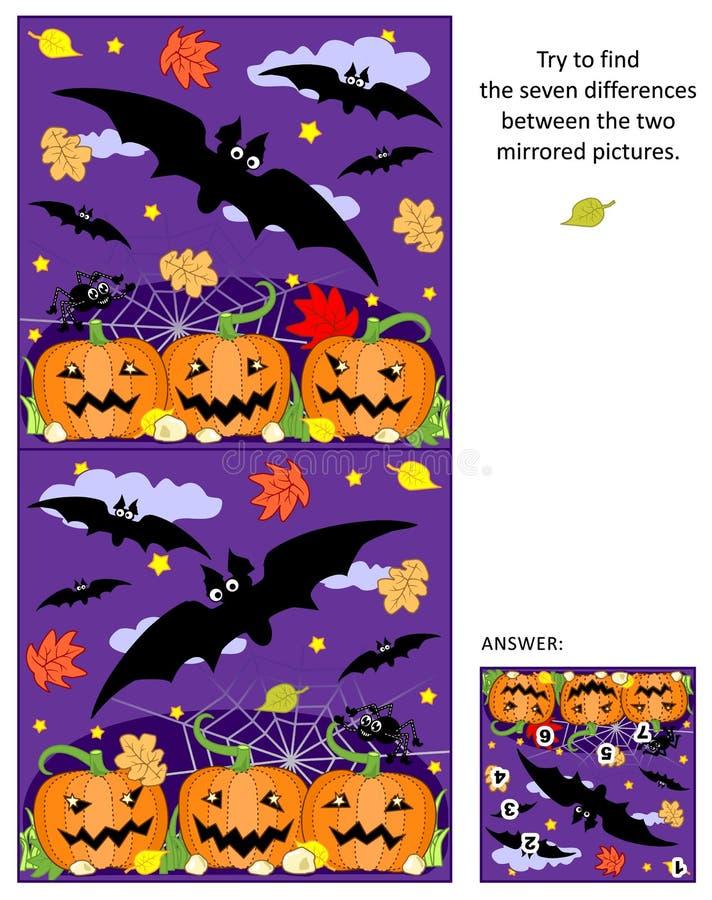 Halloween vindt de verschillen tussen het weerspiegelde beeldenraadsel met vliegende knuppels en pompoengebied stock illustratie