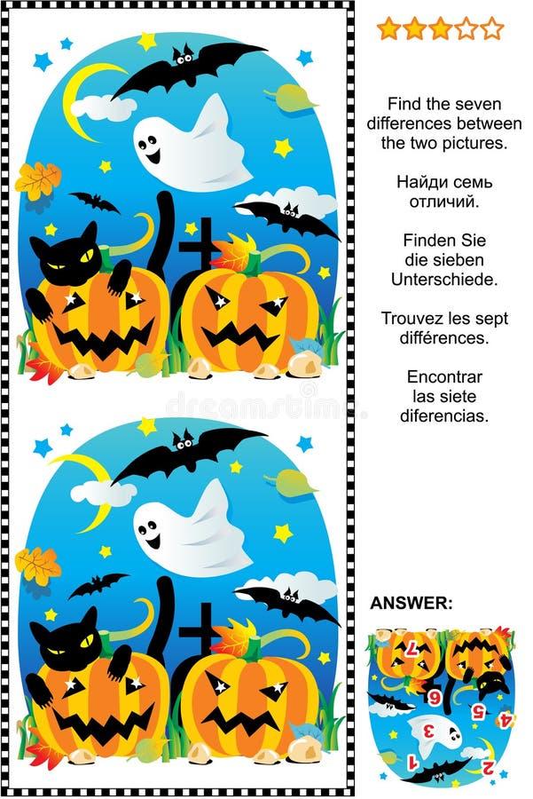 Halloween vindt het 7 verschillen visuele raadsel royalty-vrije illustratie