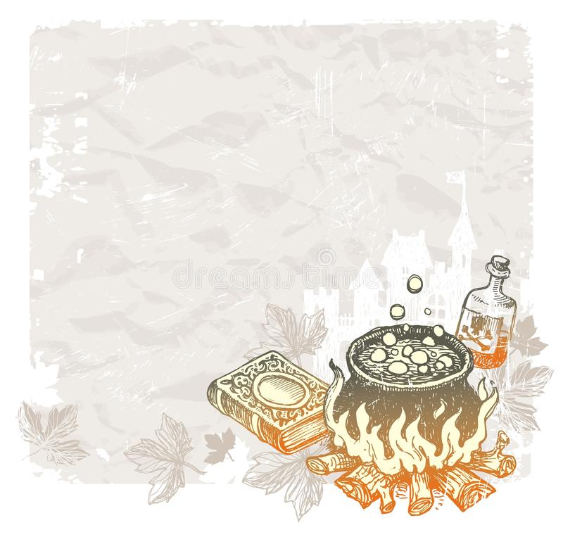 Halloween vintage background with magic objects royalty free illustration