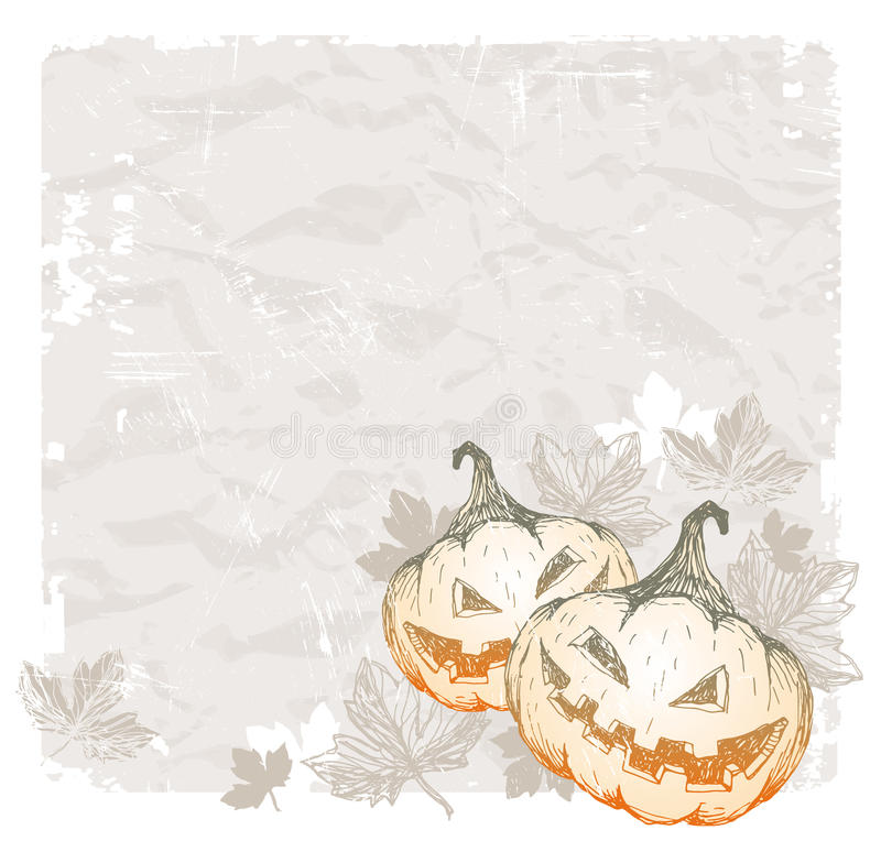 Halloween vintage background with pumpkins vector illustration