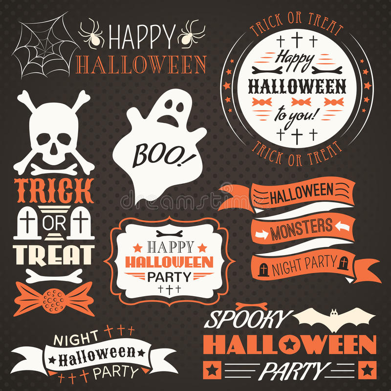 Free Halloween Vintage Set - Labels, Ribbons Stock Photos - 43402003