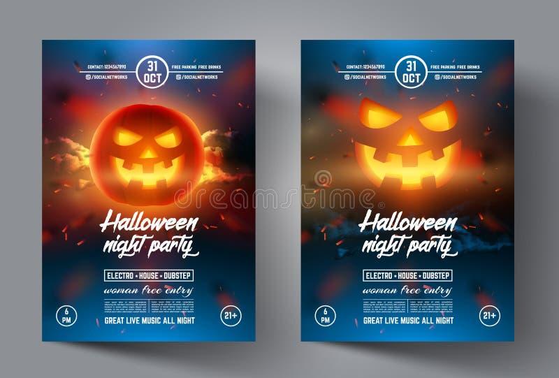 Halloween-vlieger De banner of het pamflet van het ontwerpmalplaatje, dekking, brochure en affiche royalty-vrije illustratie