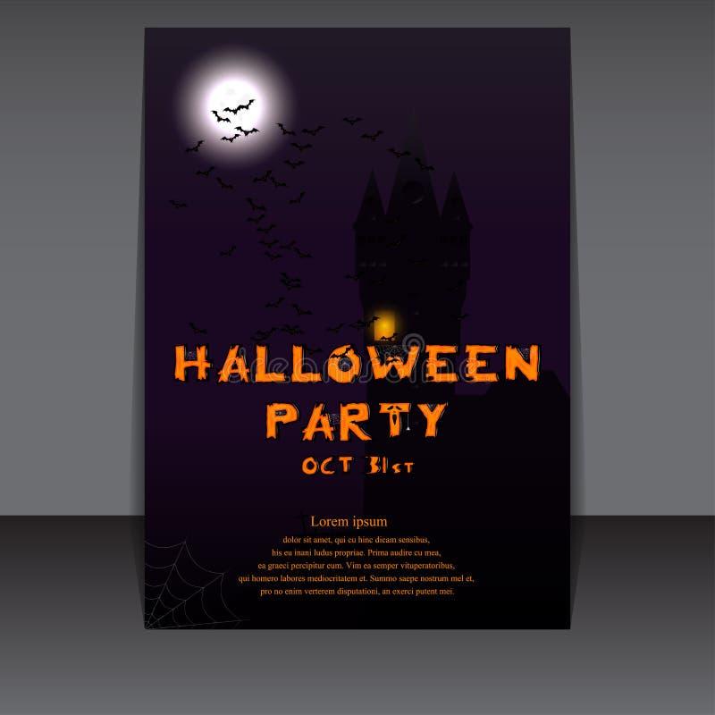 Halloween-vliegerontwerp met kasteelsilhouet op volle maan Vector illustratie royalty-vrije illustratie