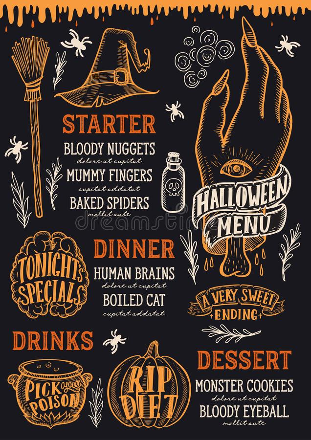 Halloween-voedselmenu op een bord stock illustratie
