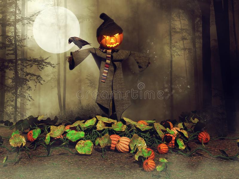 Halloween-Vogelscheuche und -rabe stock abbildung