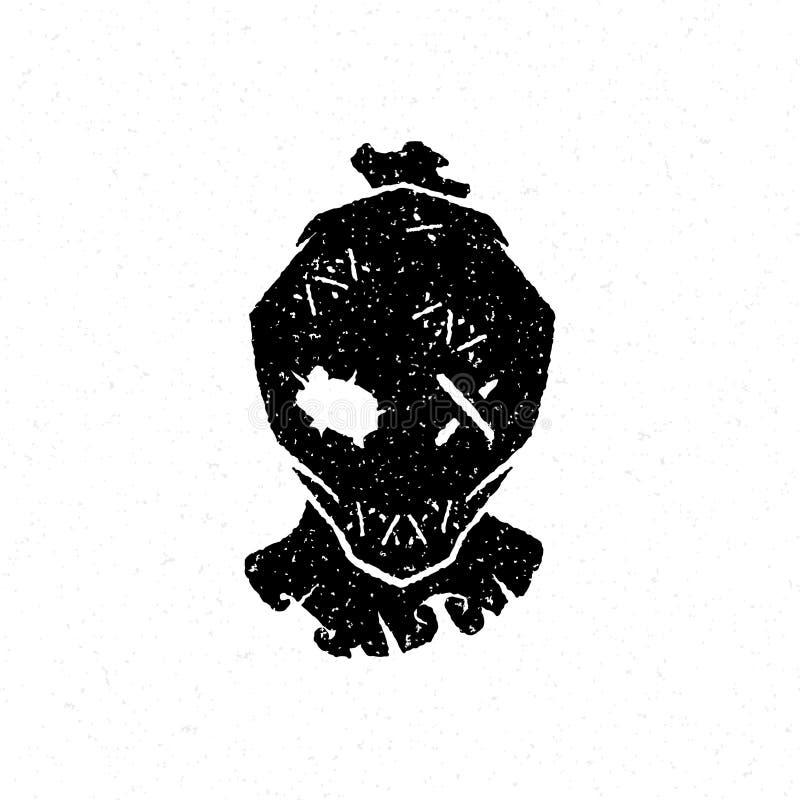 Halloween-Vogelscheuchenkopf-Vektorillustration vektor abbildung