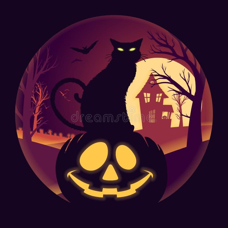 Halloween-Volle maan met Jack O Lantaarn en Zwarte Cat Vector Illustration stock illustratie