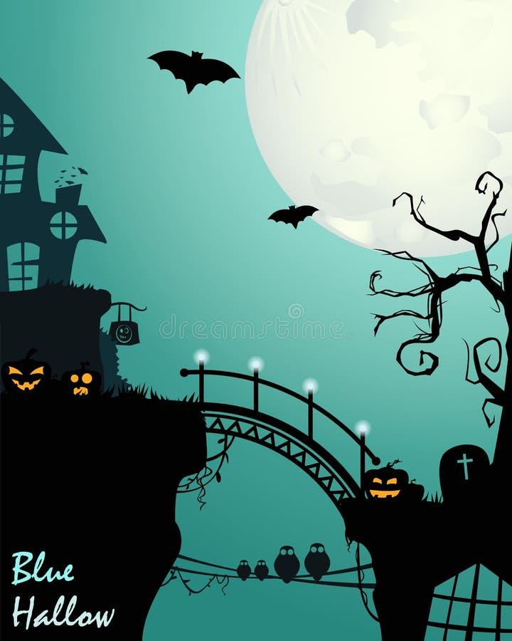 Halloween w błękicie ilustracja wektor