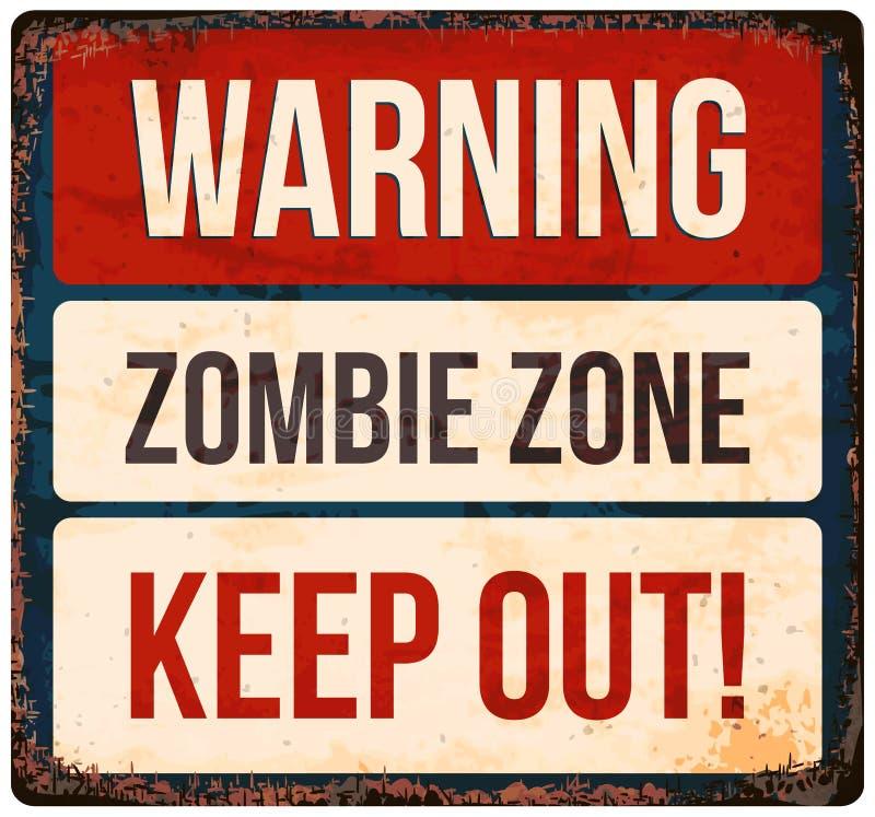 Halloween-waarschuwingsbord Voorzichtig zijn van Zombieën Vector illustratie stock illustratie