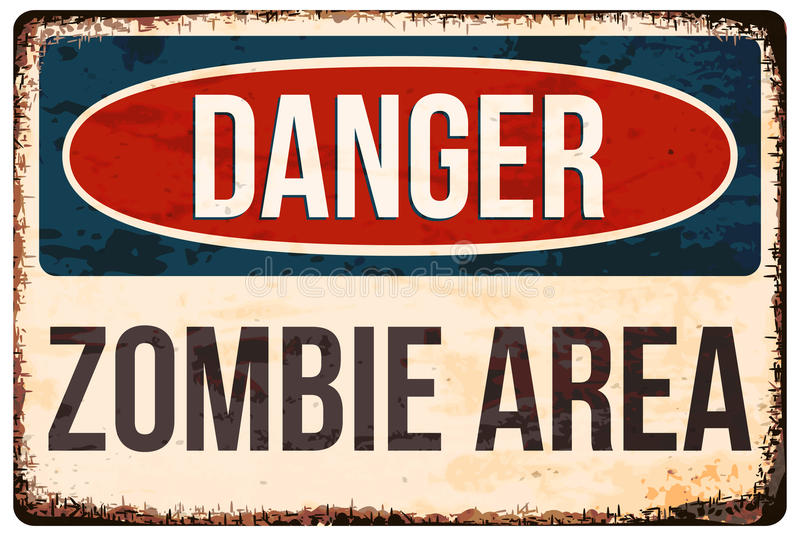 Halloween warning sign. Danger, zombie area. Vector illustration, eps10. stock illustration