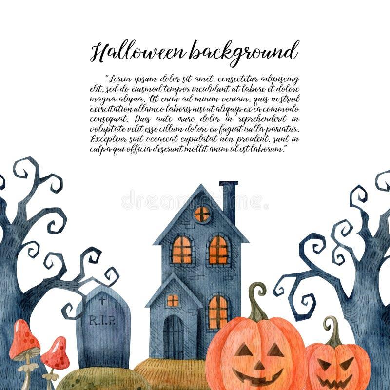 Halloween-Wasserfarbenhintergrund mit traditionellen Urlaubssymbolen lizenzfreies stockbild