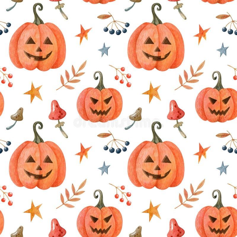 Halloween Wasserfarbennahtloses Muster mit Kürbissen lizenzfreie stockfotos