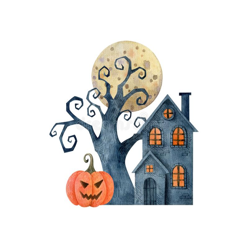 Halloween watercolor clipart isolated on white backdrop. Composition with moon, pumpkin, house and crooked tree. Hand drawn illustration vector illustration