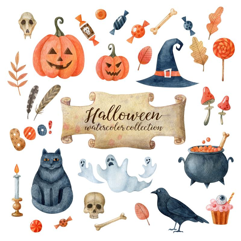 Halloween watercolor collection of clipart isolated on white background. Perfect for stickers, scrapbooking, greeting cards, prints, stationery. Handmade vector illustration